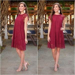 Burgundy Lace Holiday Dress